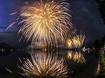 Fireworks on the Lugano Lake, Lavena-Ponte Tresa Royalty Free Stock Photos