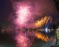 Fireworks on the Lugano Lake, Lavena-Ponte Tresa Stock Images