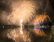 Fireworks on the Lugano Lake, Lavena-Ponte Tresa Royalty Free Stock Images