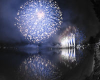 Fireworks on the Lugano Lake, Lavena-Ponte Tresa Stock Photo