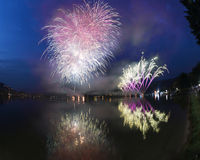 Fireworks on the Lugano Lake, Lavena-Ponte Tresa Stock Image