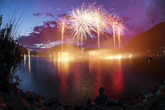 Fireworks on the Lugano Lake Royalty Free Stock Image
