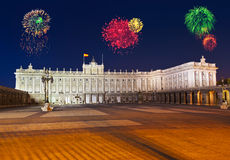Fireworks in Madrid Spain Stock Image