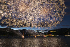 Fireworks on the Maggiore Lake, Luino Stock Photography