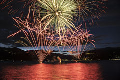 Fireworks on the Maggiore Lake, Luino Royalty Free Stock Photo