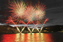 Fireworks on the Maggiore Lake, Luino Stock Images