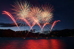Fireworks on the Maggiore Lake, Luino Royalty Free Stock Image