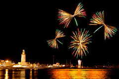 Fireworks in Malaga Royalty Free Stock Photography
