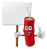Fireworks man holding a sign. Illustration of a fireworks man holding a sign and doing a thumbs up gesture Royalty Free Stock Photos