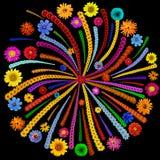 Fireworks mandala isolated on black Royalty Free Stock Image