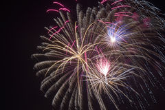 Fireworks in manual focus Royalty Free Stock Image