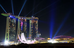 Light show at Marina bay sand in Singapore Royalty Free Stock Photography