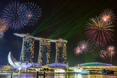 Fireworks at Marina Bay Sands Singapore Royalty Free Stock Photos