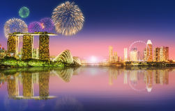 Fireworks in Marina Bay, Singapore Skyline Royalty Free Stock Photography