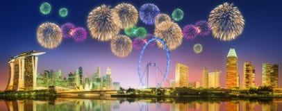 Fireworks in Marina Bay, Singapore Skyline Royalty Free Stock Photos