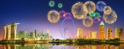 Fireworks in Marina Bay, Singapore Skyline. Beautiful fireworks in Marina Bay and view of skyscrapers on Singapore Royalty Free Stock Image
