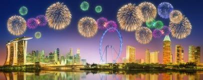 Fireworks in Marina Bay, Singapore Skyline Stock Image