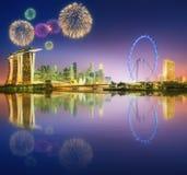 Fireworks in Marina Bay, Singapore Skyline Stock Images