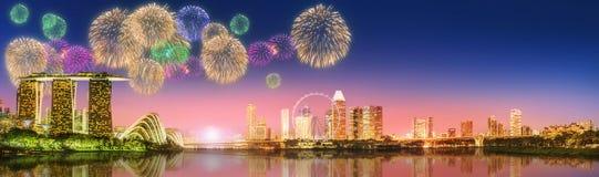 Fireworks in Marina Bay, Singapore Skyline Stock Photography
