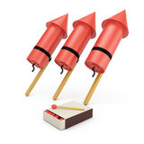 Fireworks and matches. On white background. 3d rendering illustration Stock Photo