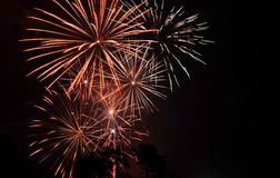 Fireworks on may 9. Night fireworks in honor of victory day in Russia Stock Photo