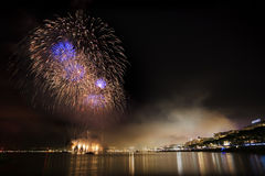 Fireworks on the mediterranean sea Stock Photography