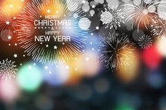 Fireworks and merry christmas and happy new year. On colorful bokeh light background Royalty Free Stock Photography