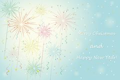 Fireworks. Merry xmas and happy new year background. vector eps10 Royalty Free Stock Photography