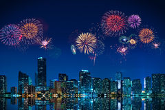 Fireworks in Miami. Big fireworks over the skyline of downtown Miami Stock Image