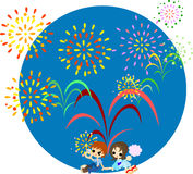 Fireworks of the midsummer-2. The night of the midsummer when big fireworks are whirled up.  Lets enjoy to see the fireworks with lovers Stock Photo