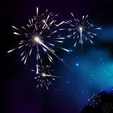 Fireworks. Milky way stars. Stars of a planet and galaxy in a fr Stock Photos