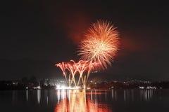 Fireworks on Monate Lake, Varese - Italy Stock Images