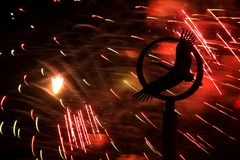 Fireworks and a monument to a stork Royalty Free Stock Photos