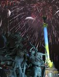Fireworks and monuments Stock Photos