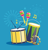 Fireworks and Musical Instruments on Blue. Background Stock Photo