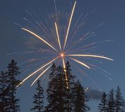 Fireworks. In the National Park of Banff, Canada Stock Images