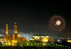 Fireworks near Grand Mosque Stock Image