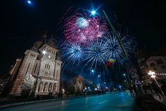 Fireworks near the Orthodox Cathedral in Timisoara. On the occasion of Romanian National Day Royalty Free Stock Photos