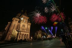 Fireworks near the Orthodox Cathedral in Timisoara. On the occasion of Romanian National Day Stock Photo