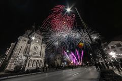 Fireworks near the Orthodox Cathedral in Timisoara. On the occasion of Romanian National Day Stock Photography