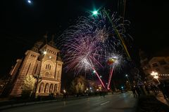 Fireworks near the Orthodox Cathedral in Timisoara. On the occasion of Romanian National Day Stock Image
