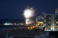 Fireworks near the sea in Valencia, Spain Royalty Free Stock Images