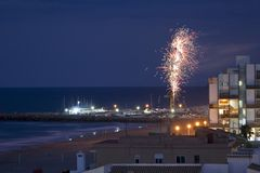 Fireworks near the sea in Valencia, Spain Royalty Free Stock Photos