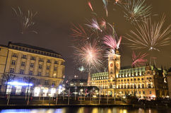 Happy new year. Fireworks in Hamburg Royalty Free Stock Image