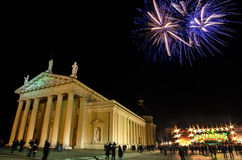 Fireworks near Vilnius Cathedral in Lithuania Stock Photos