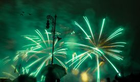 Fireworks Neon green colour stock image