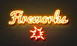 Fireworks neon sign on brick wall background. Fireworks neon sign on brick wall background Stock Photography