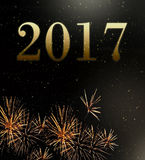 Fireworks 2017 new year. 2017 new year on fireworks background Stock Image