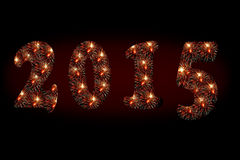 2015 fireworks. New Year 2015 fireworks on black background Royalty Free Stock Photos