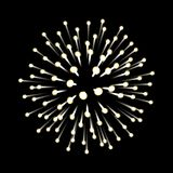Fireworks. New Year celebration. Festive night decoration, design element. Vector isolated illustration on black. Fireworks. New Year celebration. Festive night Stock Photos